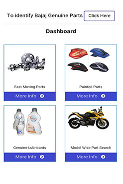 Bajaj Genuine Parts App Dashboard