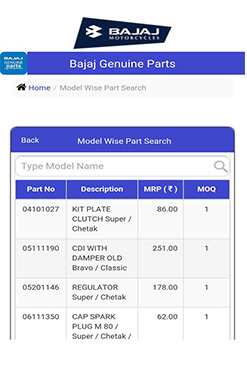 Bajaj Genuine Parts App - Model Wise Part Search